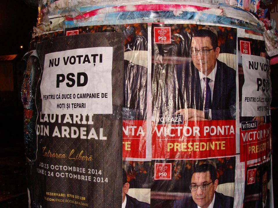 Afisele lui Ponta sunt ilegale, iar primarii sunt obligati sa le indeparteze. Credeti ca va respecta Catalin Chereches legea?