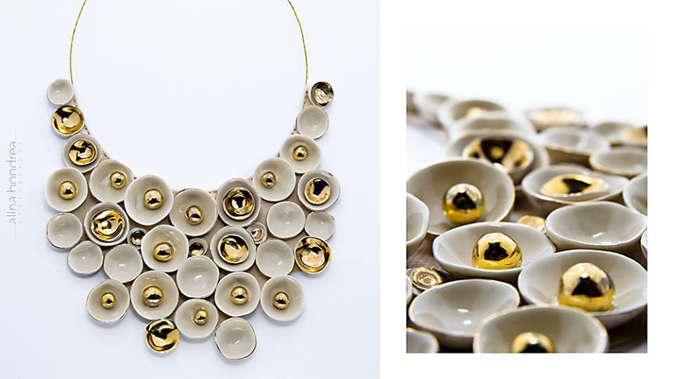 Bijuterii din portelan pictat cu aur, creatii unice ale artistei Ileana Danci