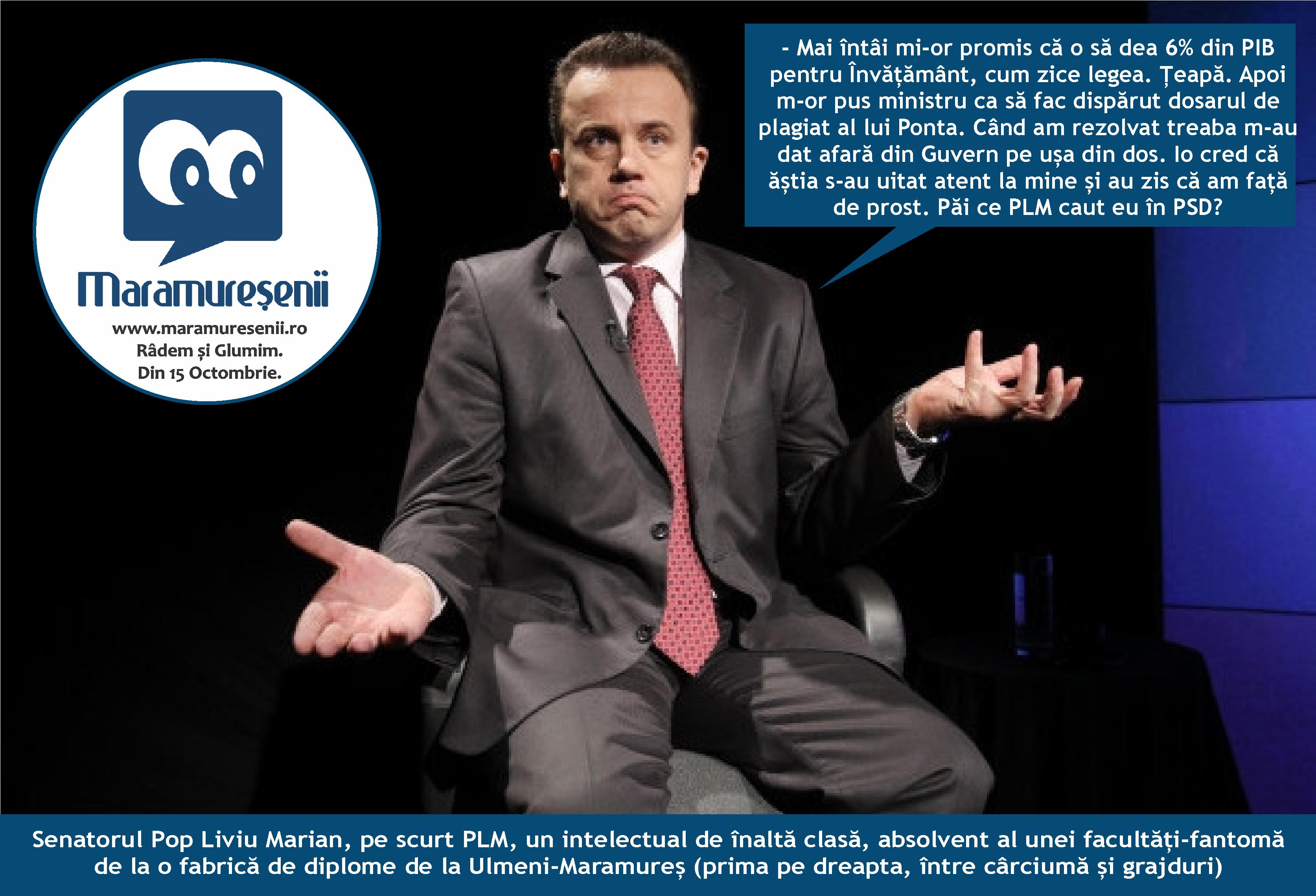 Absolut penibil: senatorul PLM Liviu Pop vrea să fie iar ministrul învățământului